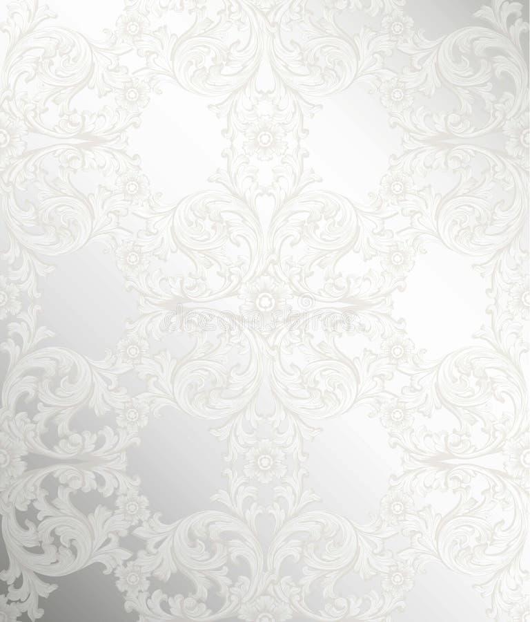 Koninklijk victorian patroonornament Vector Rijke rococo'sachtergronden Zilveren polijst kleur stock illustratie