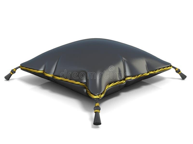 Koninklijk zwart hoofdkussen 3d geef terug vector illustratie