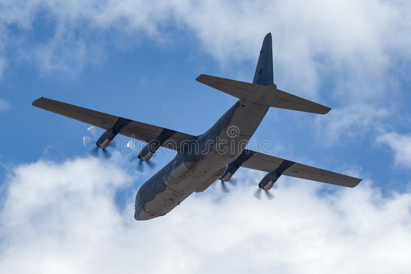 Koninklijke Australische Luchtmacht Lockheed Martin c-130j-30 militaire de ladingsvliegtuigen A97-466 van Hercules stock foto's