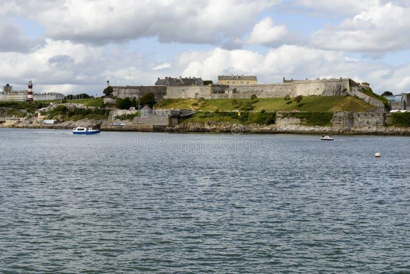 Koninklijke Citadel en licht huis, Plymouth royalty-vrije stock afbeelding
