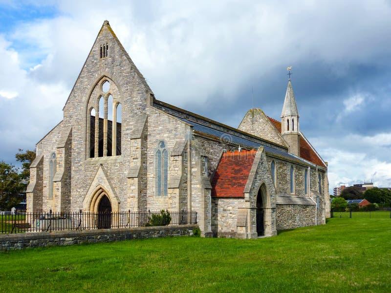 Koninklijke garnizoenkerk in Oud Portsmouth - het UK stock afbeelding