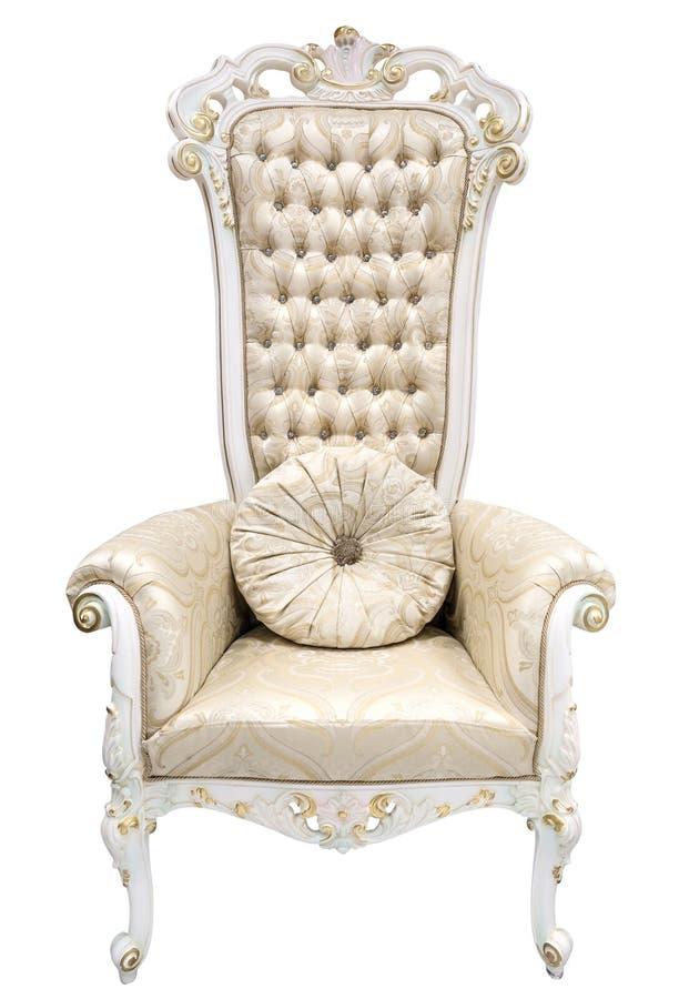 Koninklijke koningstroon Ivoorleunstoel in barokke die stijl met halfedelstenen wordt verfraaid stock afbeeldingen