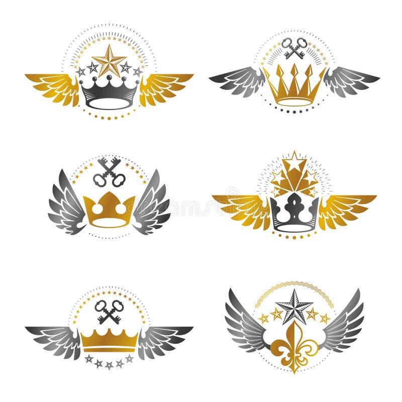 Koninklijke Kronen en Uitstekende geplaatste Sterrenemblemen Heraldische vectordesi stock illustratie
