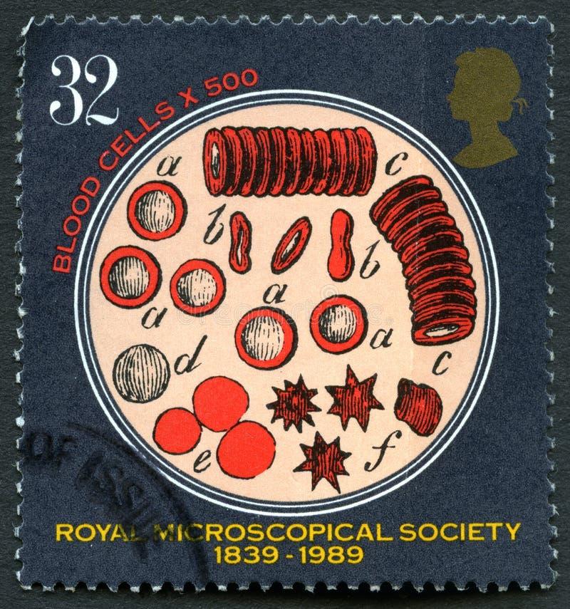 Koninklijke Microscopische de Maatschappij Britse Postzegel stock foto's