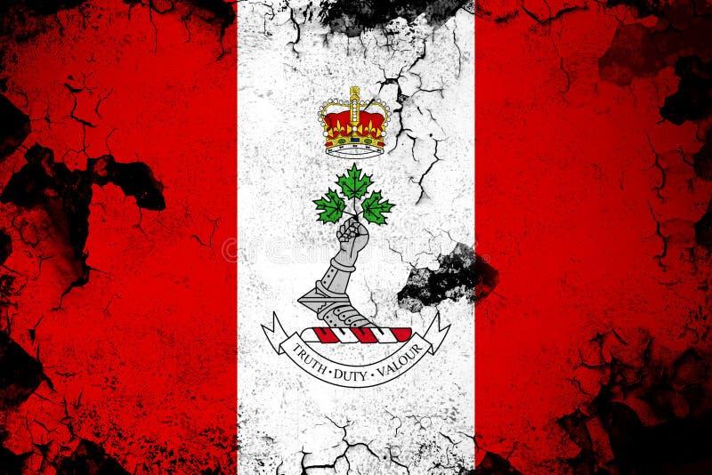 Koninklijke militaire roestige universiteit van Canada en grunge vlagillustratie stock illustratie