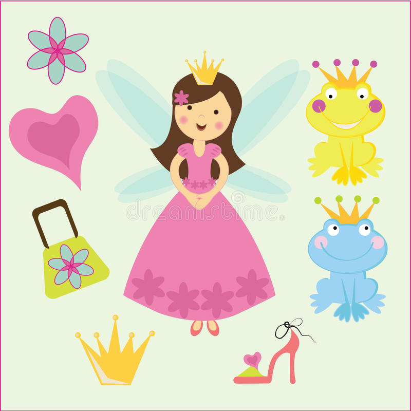 Koninklijke prinses en de kikker royalty-vrije illustratie