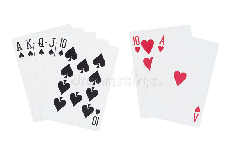 Koninklijke rechte flushvan de speelkaarten van het spadesandâ blackjack royalty-vrije stock foto