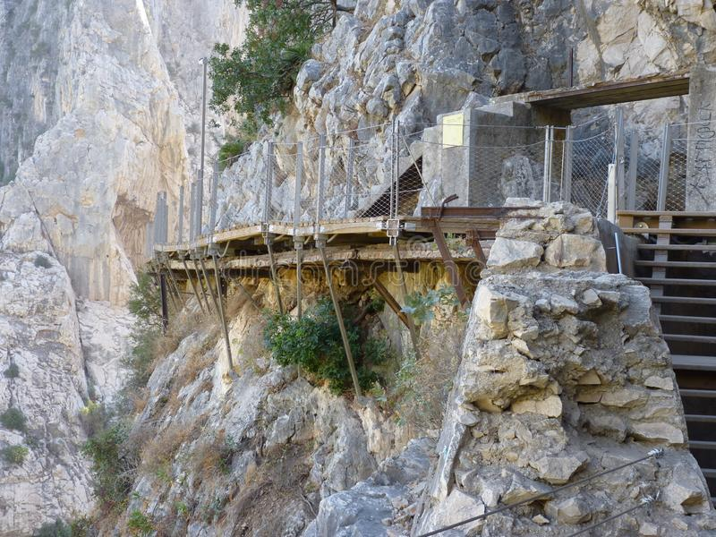 Koninklijke Sleep Gr Caminito del Rey in kloof Chorro, de provincie van Malaga stock fotografie