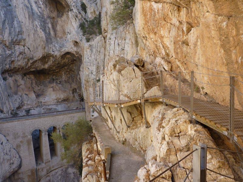 Koninklijke Sleep Gr Caminito del Rey in kloof Chorro, de provincie van Malaga royalty-vrije stock afbeelding
