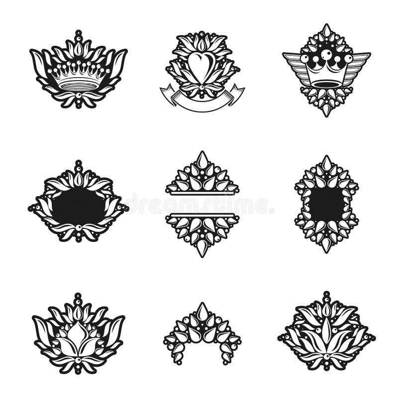 Koninklijke symbolen, Bloemen, bloemen en kronen, geplaatste emblemen heraldic royalty-vrije illustratie