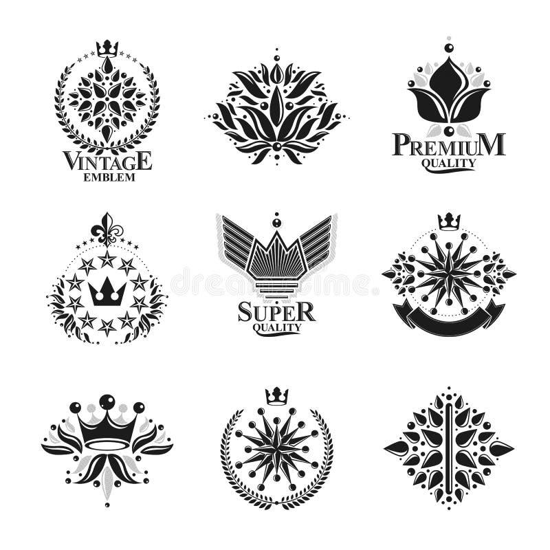 Koninklijke symbolen, Bloemen, bloemen en kronen, geplaatste emblemen heraldic stock illustratie