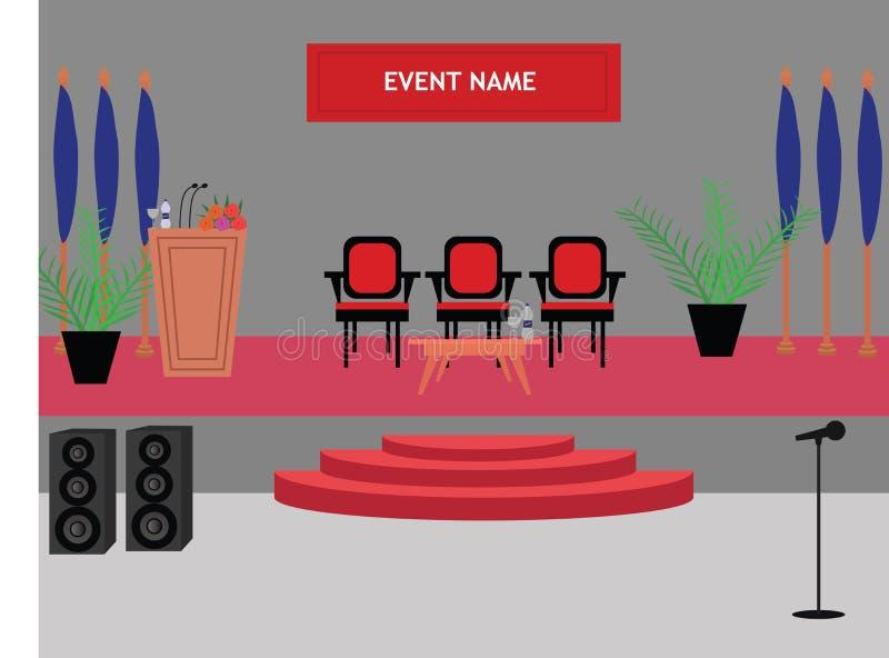 Koninklijke thema het sluiten ceremonieopstelling op een stadium voor gebeurtenisbeheer stock afbeelding