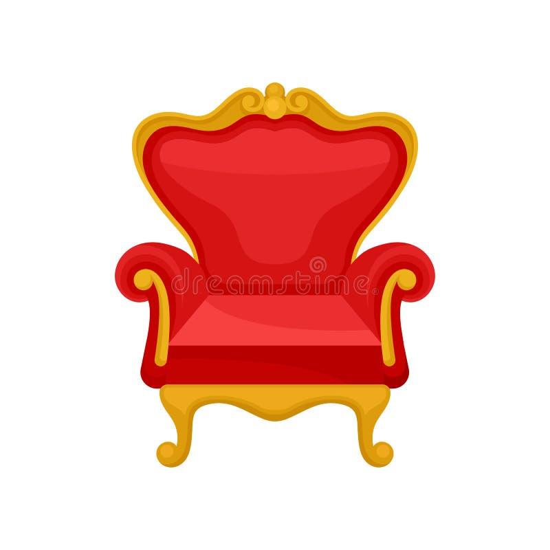 Koninklijke troon, heraldisch symbool, de vectorillustratie van monarchieattributen op een witte achtergrond vector illustratie