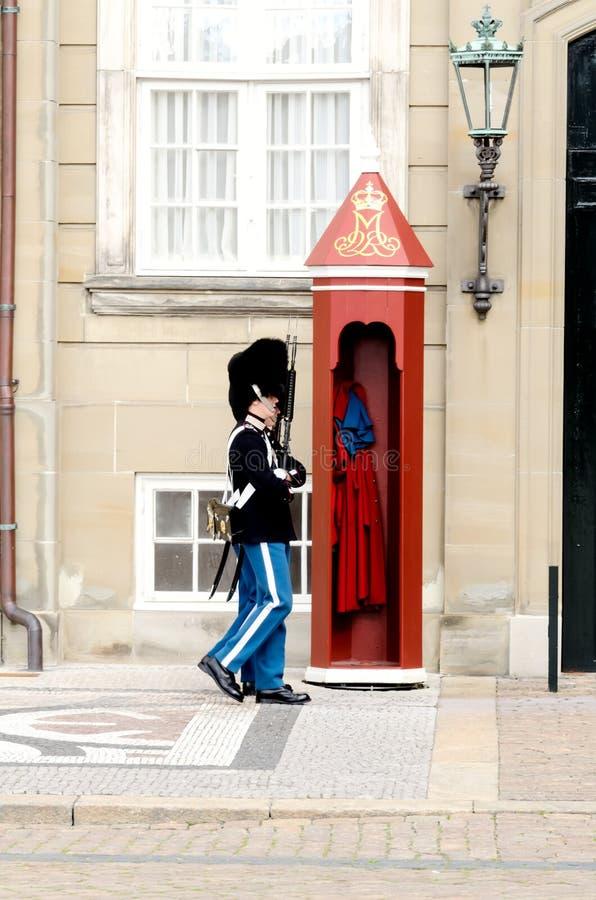 Koninklijke wachten bij Amalienborg-Groef royalty-vrije stock foto's