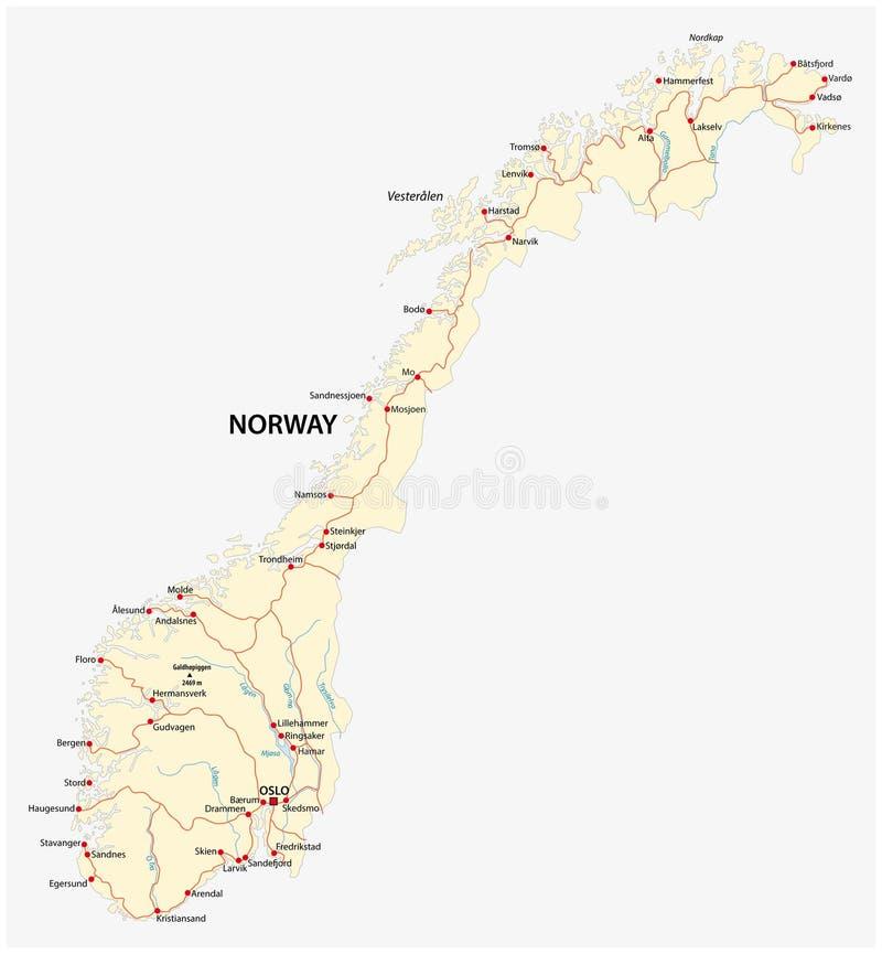 Koninkrijk van de vectorwegenkaart van Noorwegen stock illustratie