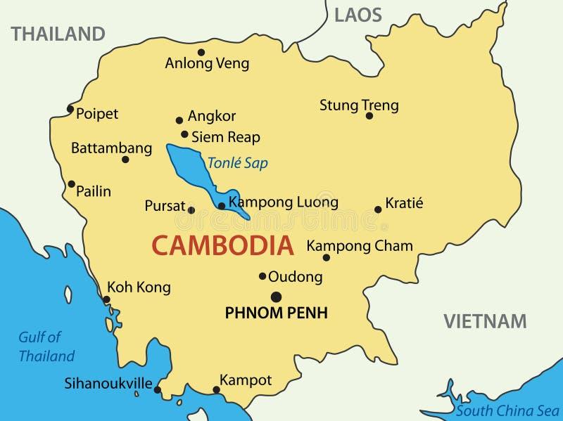 Koninkrijk van Kambodja - kaart stock illustratie