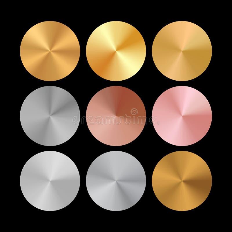 Konisk metalllutningsamling av Rose Gold, guld- och silvercirklar vektor illustrationer