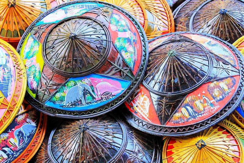 Koniska hattar Thailand för traditionell bambu arkivfoton