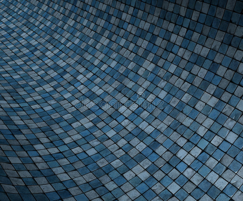 konkave gebogene blaue grunge 3d Mosaikoberfläche lizenzfreie abbildung