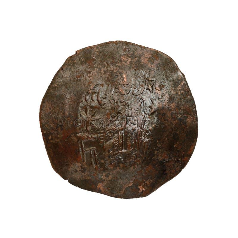 Konkavt forntida koppar- eller bronsbyzantinemynt som isoleras p? vit arkivfoto