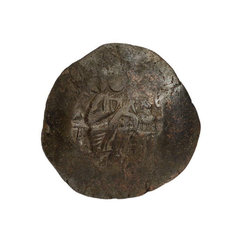 Konkavt forntida koppar- eller bronsbyzantinemynt som isoleras p? vit arkivbilder