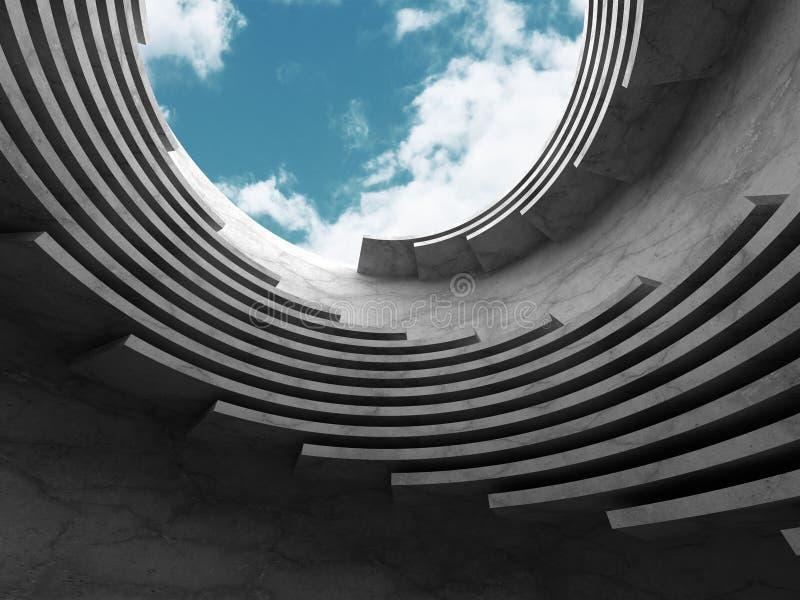 Download Konkret Abstrakt Arkitektur På Bakgrund För Molnig Himmel Stock Illustrationer - Illustration av digitalt, mörkt: 78728987