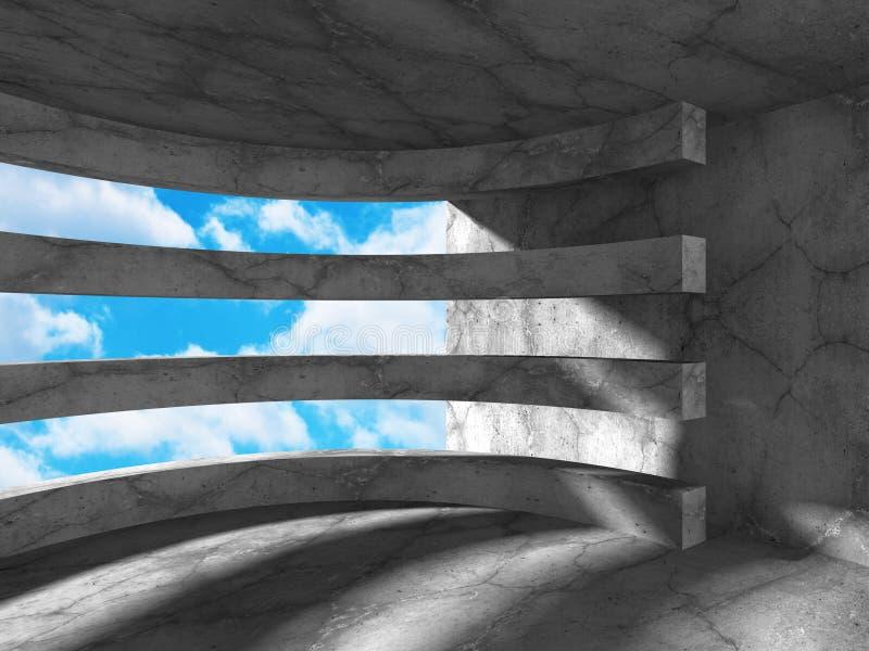 Download Konkret Abstrakt Arkitektur På Bakgrund För Molnig Himmel Stock Illustrationer - Illustration av öppet, inget: 78729033