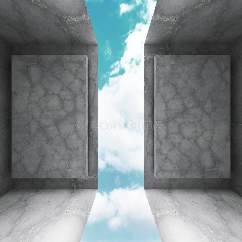 Download Konkret Abstrakt Arkitektur På Bakgrund För Molnig Himmel Stock Illustrationer - Illustration av sten, golv: 78729429