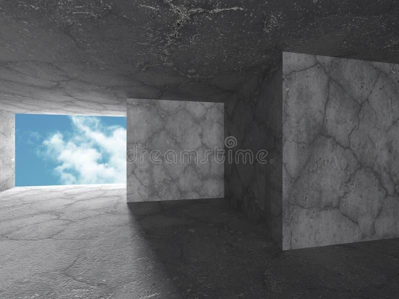 Download Konkret Abstrakt Arkitektur På Bakgrund För Molnig Himmel Stock Illustrationer - Illustration av dekor, perspektiv: 78729530