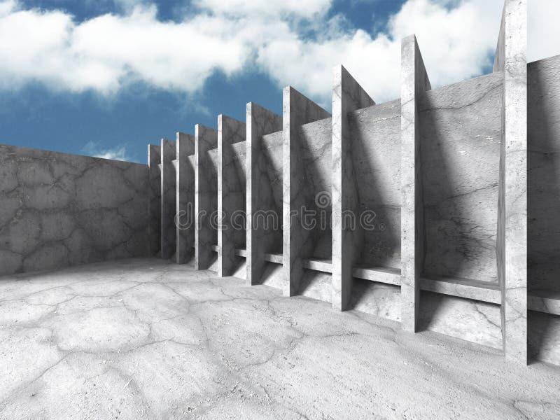 Download Konkret Abstrakt Arkitektur På Bakgrund För Molnig Himmel Stock Illustrationer - Illustration av bygger, golv: 78729556