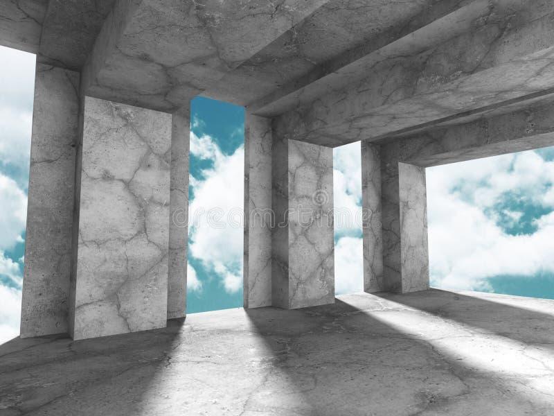 Download Konkret Abstrakt Arkitektur På Bakgrund För Molnig Himmel Stock Illustrationer - Illustration av grått, dekor: 78730937
