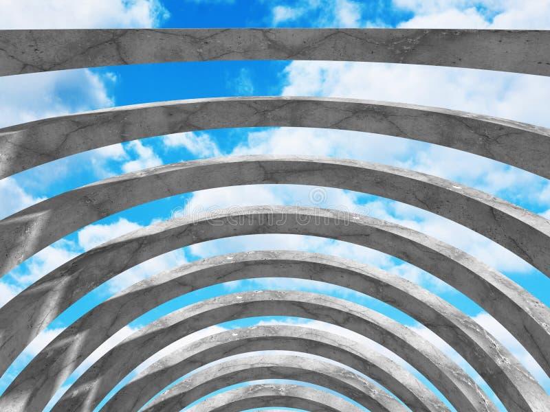 Download Konkret Abstrakt Arkitektur På Bakgrund För Molnig Himmel Stock Illustrationer - Illustration av digitalt, framför: 78731143