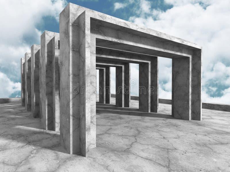 Download Konkret Arkitekturbakgrund Modern Byggnad På Molnig Himmel Stock Illustrationer - Illustration av bygger, geometriskt: 78731121