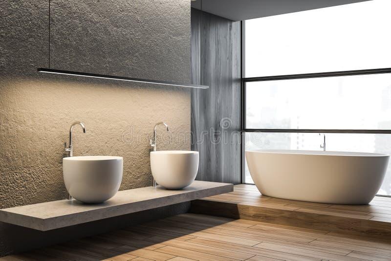 Konkret badrumhörn, dubbel vask och att bada royaltyfri illustrationer