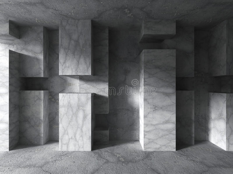 Download Konkret Geometrisk Arkitektur Tom Mörk Stads- Ruminre Stock Illustrationer - Illustration av bild, konstruktion: 78731694