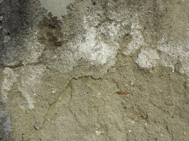 Konkret husvägg för mycket gammalt smutsigt sprucket cement med skalad vit målarfärg royaltyfri foto