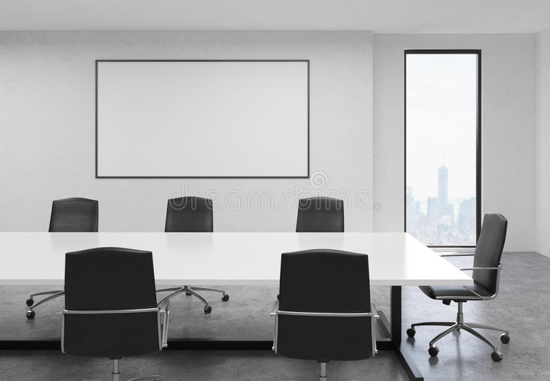 Konkret konferensrum med whiteboard stock illustrationer