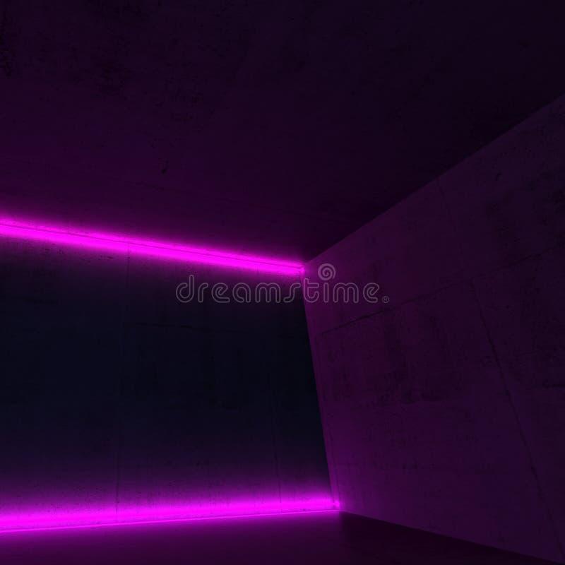 konkret rum 3d med purpurfärgade neonljus royaltyfri bild