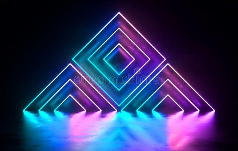 Konkret rum f?r futuristisk science fiction med gl?dande neon Virtuell verklighetportal, vibrerande f?rger, laser-energik?lla bl? royaltyfri illustrationer
