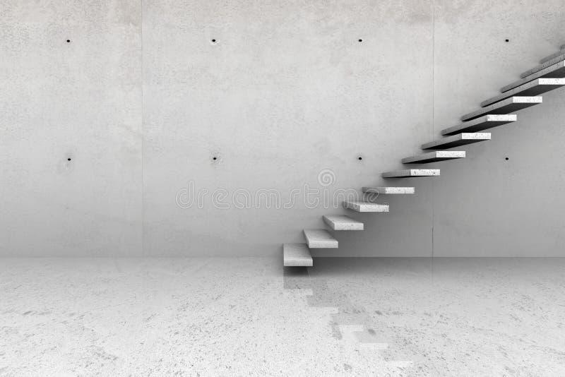 Konkret rum med trappa arkivbild