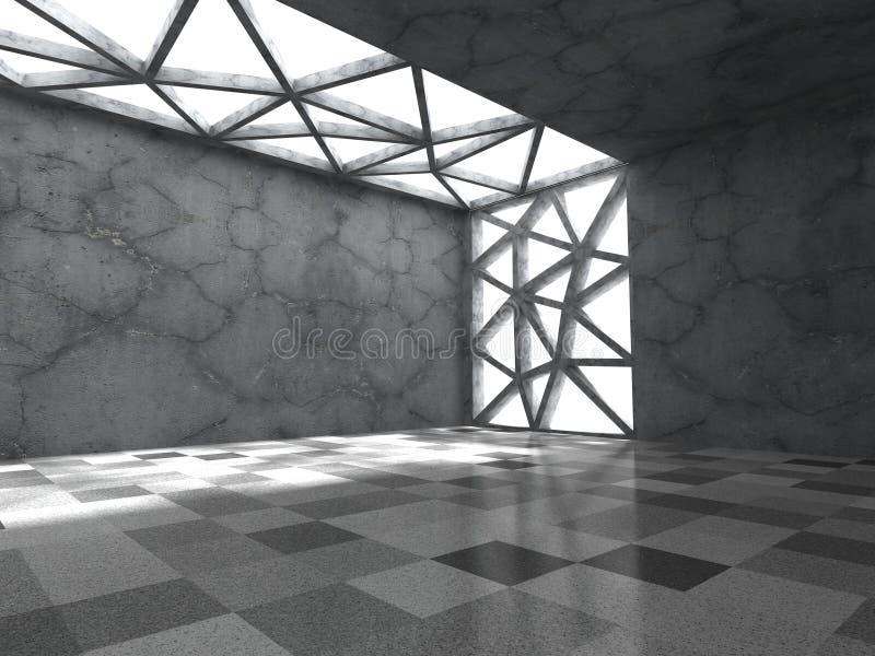 Download Konkret Tomt Mörkt Rum Med Takljus Abstrakt Architectu Stock Illustrationer - Illustration av väggar, fast: 78729653