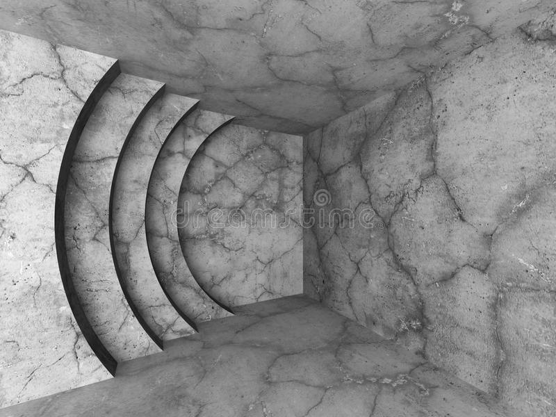 Download Konkret Tomt Rum Med Den Runda Väggdesignbeståndsdelen Arkitektur Stock Illustrationer - Illustration av grungy, realistiskt: 78731150