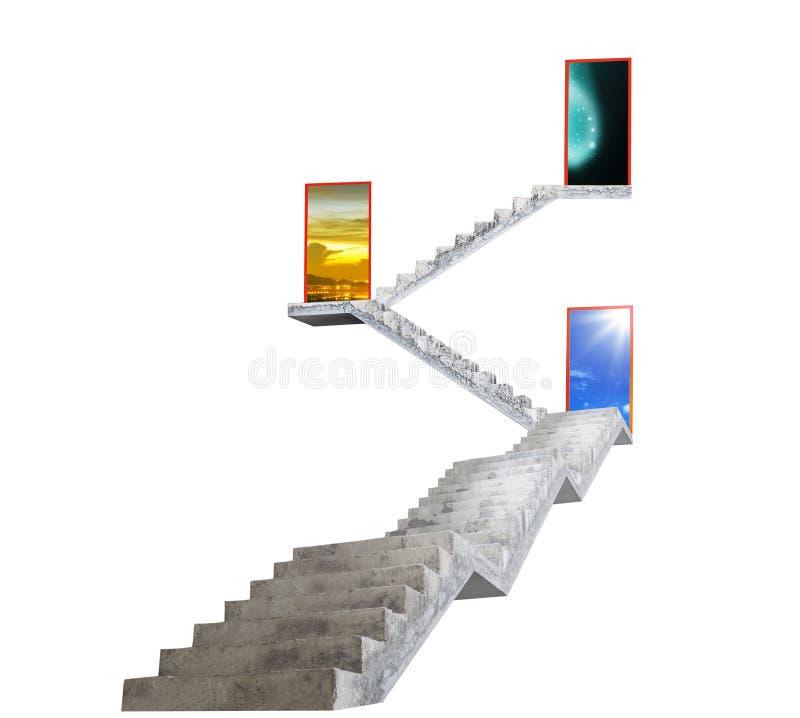 Konkret trappa som leder till utgångsdörren som öppnar till blå himmel royaltyfri foto