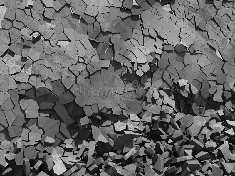 Konkreta kaotiska fragment av explosionförstörelseväggen fotografering för bildbyråer