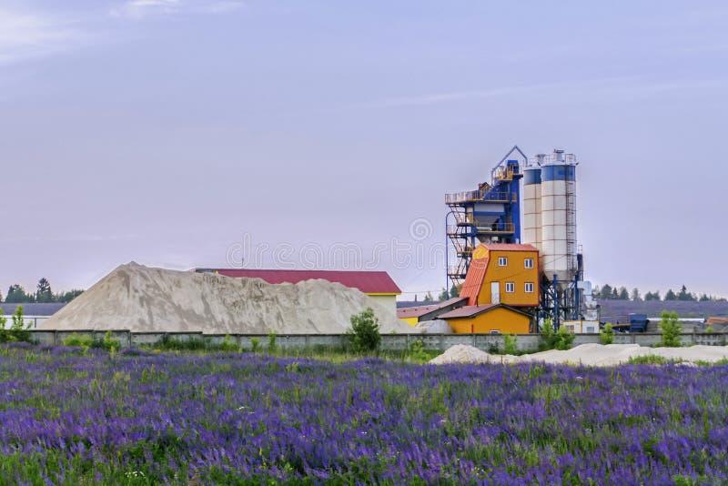 Konkrete Anlage unter blühenden Feldern lizenzfreie stockfotos