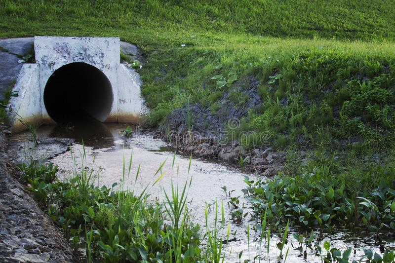 Konkrete Entwässerungsrohrleitung, die an Abfall zum Gras abläßt lizenzfreie stockfotografie