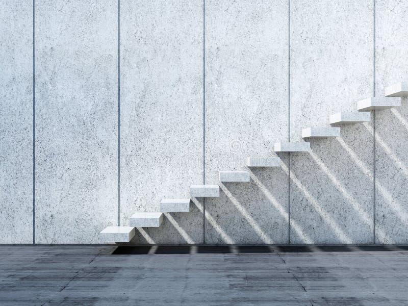 konkrete Installation der Treppe 3d auf Steinwand lizenzfreie abbildung