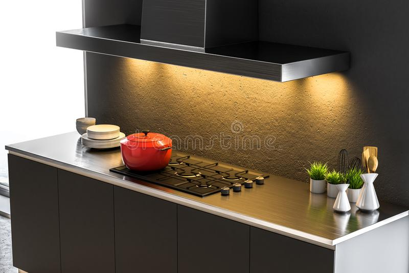Konkrete Küche Countertops und Kocher, Seitenansicht lizenzfreie abbildung