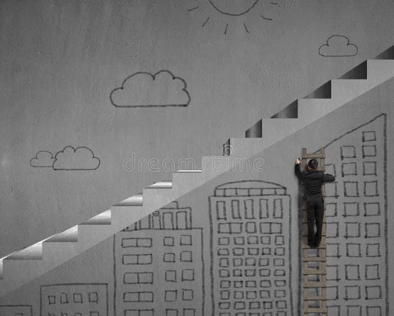 Konkrete Treppe mit dem modernen Gebäudeskizzieren vektor abbildung