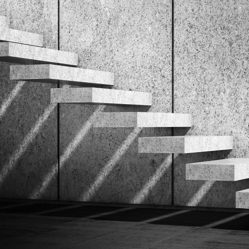 Konkrete Treppe mit Schattenmuster 3d übertragen stock abbildung